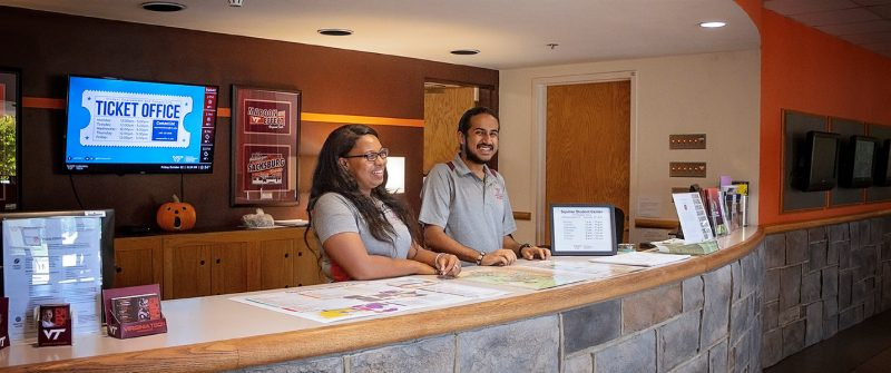 Student employees at Squires Welcome Desk